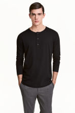 Cotton jersey Henley shirt - Black - Men | H&M CN 1