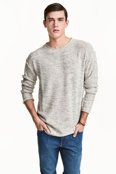 Fine-knit jumper - Natural white marl - Men | H&M 1