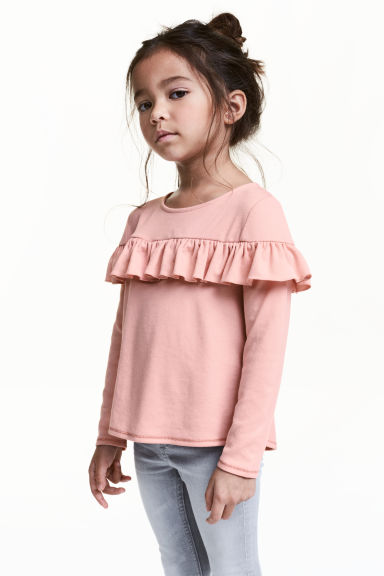 Frilled top - Dusky pink - Kids | H&M CN