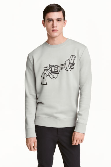 Print-motif sweatshirt - Light grey/Non-Violence - Men | H&M GB 1