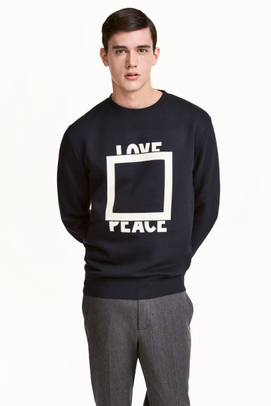 Printed sweatshirt - Dark blue - Men | H&M