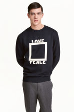 Printed sweatshirt - Dark blue - Men | H&M CN 1
