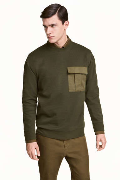 Scuba sweatshirt - Dark khaki green - Men | H&M CN 1