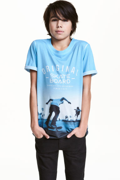Printed T-shirt - Light blue/Skateboard - Kids | H&M