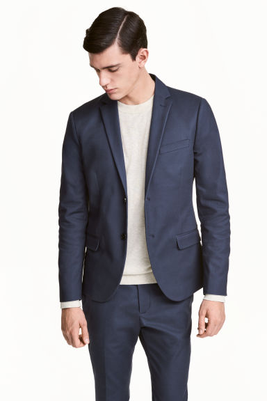 Katoenen blazer - Slim fit - Donkerblauw - HEREN | H&M BE 1