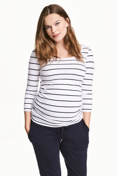 MAMA Jersey top - White/Striped -  | H&M