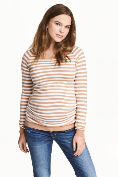 MAMA Knitted jumper - Beige/White/Striped - Ladies | H&M CN