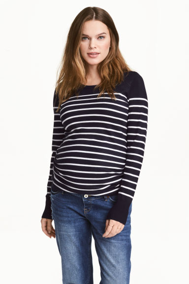 MAMA Fine-knit jumper - Dark blue/Striped - Ladies | H&M 1