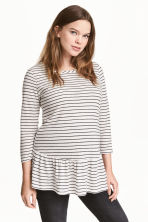 MAMA Linen-blend top - Natural white/Striped - Ladies | H&M CN 1