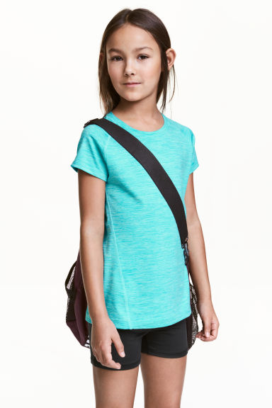 Short-sleeved sports top - Turquoise marl - Kids | H&M 1
