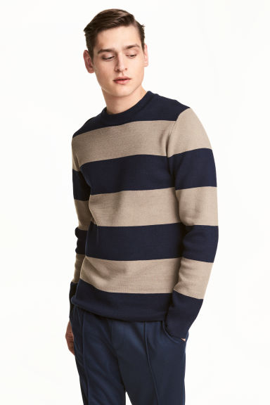 Fine-knit jumper - Dark blue/Striped - Men | H&M 1