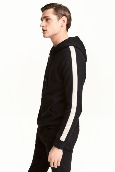 Fine-knit hooded jumper - Black/White - Men | H&M 1
