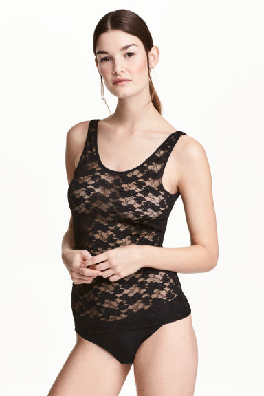 Lace vest top - Black - Ladies | H&M CN 1