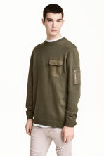 Fine-knit cotton jumper - Khaki green - Men | H&M 1