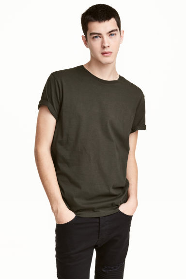 Round-necked T-shirt - Dark khaki green - Men | H&M CN 1