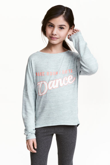 Fine-knit jumper - Light turquoise marl - Kids | H&M CN 1