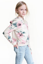 圖案連帽上衣 - Light grey/Floral - Kids | H&M 1
