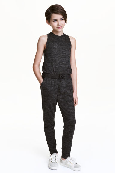 Fine-knit jumpsuit - Black marl - Kids | H&M