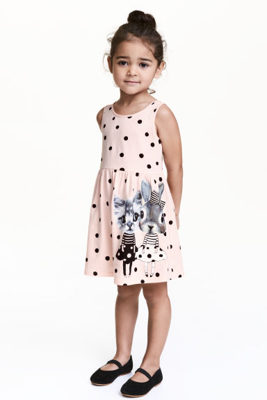 Patterned jersey dress - Light pink/Spotted -  | H&M CN 1