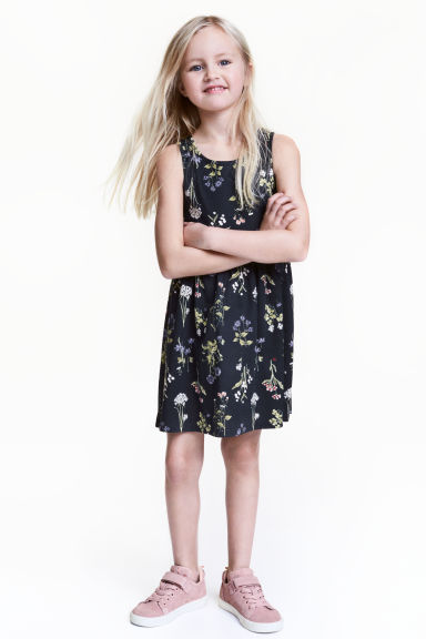 Patterned jersey dress - Dark blue/Floral - Kids | H&M 1