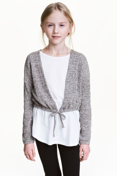 Cropped cardigan - Grey marl - Kids | H&M 1