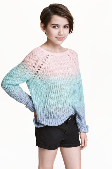 Knitted jumper - Pink/Turquoise - Kids | H&M