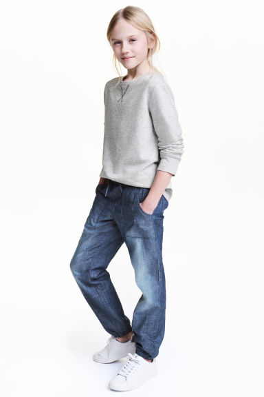 Pantaloni pull-on in cotone - Blu denim - BAMBINO | H&M IT 1