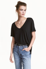 V-neck jersey top - Black - Ladies | H&M 1