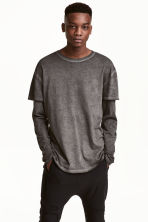 Camiseta de manga larga - Negro washed out - HOMBRE | H&M ES 1