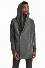 Hooded sweatshirt cardigan  - Dark grey - Men | H&M 1