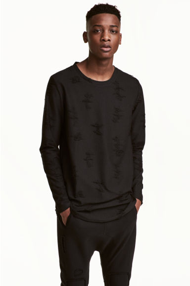 Top with worn details - Black - Men | H&M CN 1