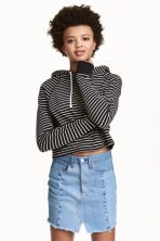 Cropped hooded top - Black/Striped - Ladies | H&M 1
