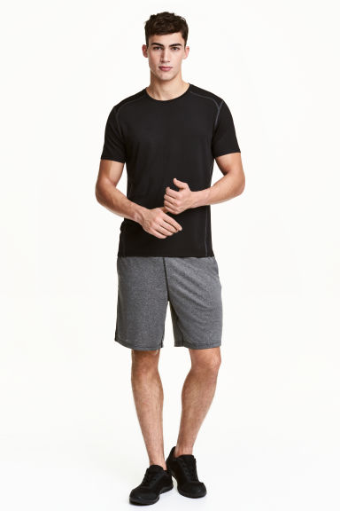 Knee-length sports shorts - Black marl - Men | H&M 1