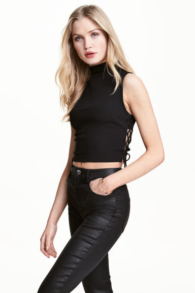 Cropped top with lacing - Black -  | H&M GB