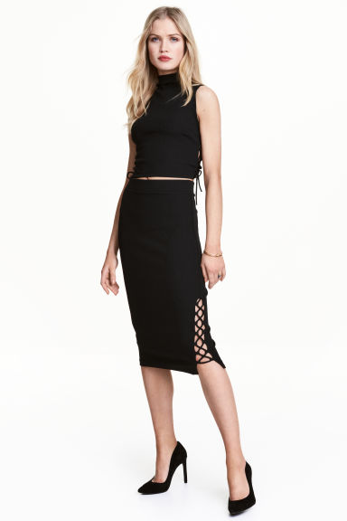 Pencil skirt with lacing - Black - Ladies | H&M 1
