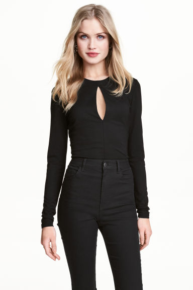 Long-sleeved body - Black - Ladies | H&M 1