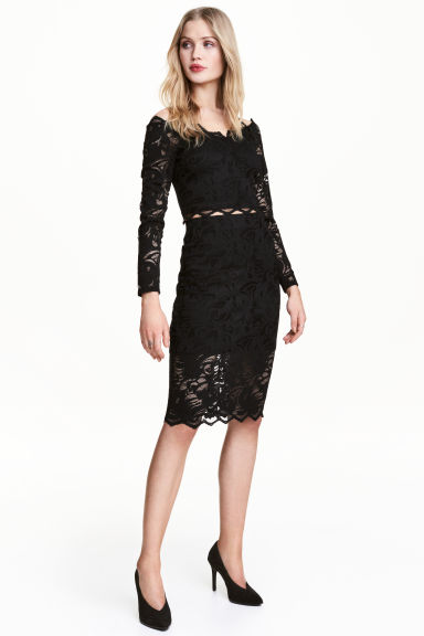 Gonna a tubino in pizzo - Nero - DONNA | H&M IT 1