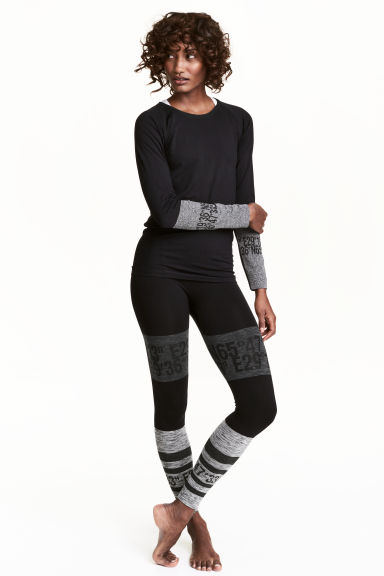 Seamless base layer tights - Black/Grey marl - Ladies | H&M CN 1