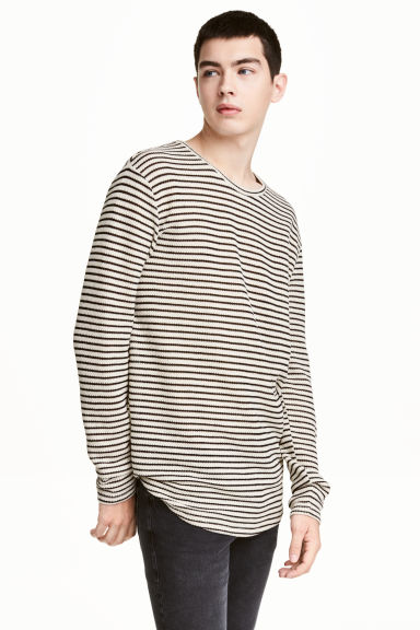 Loose-knit jumper - Light beige/Striped - Men | H&M CN 1
