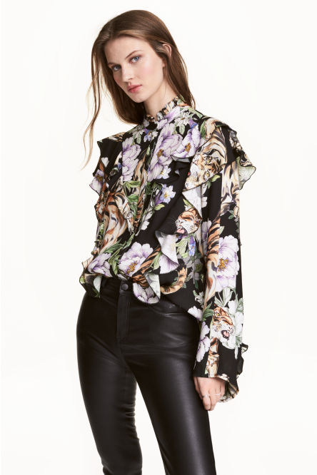 Patterned frilled blouse