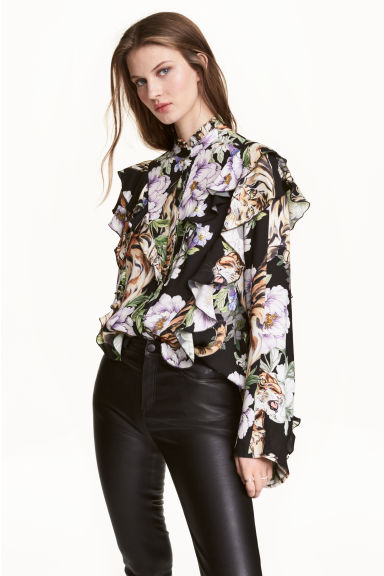 Patterned frilled blouse - Black/Tiger - Ladies | H&M GB