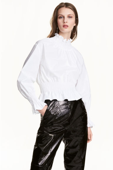 Smocked pima cotton blouse - White - Ladies | H&M CN 1