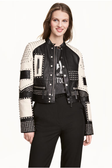 Leather jacket with studs - Black/White -  | H&M CN 1