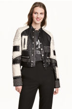 Leather jacket with studs - Black/White -  | H&M 1