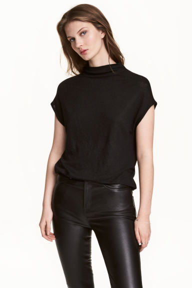 Top with cap sleeves - Black - Ladies | H&M CN