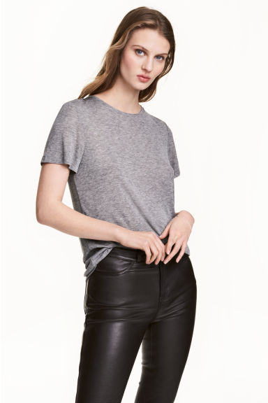 Silk-blend top - Grey marl - Ladies | H&M CA 1