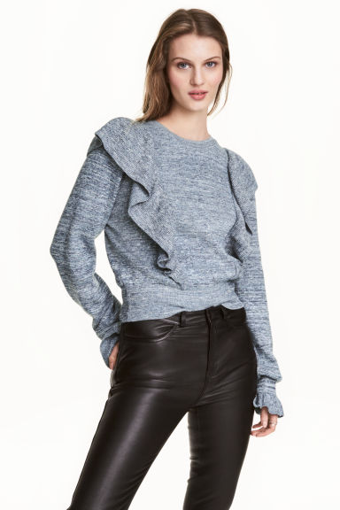 Knitted jumper with frills - Dark blue marl - Ladies | H&M CN 1