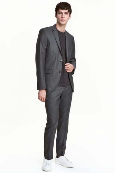 Wool suit trousers Slim fit - Dark grey - Men | H&M 1