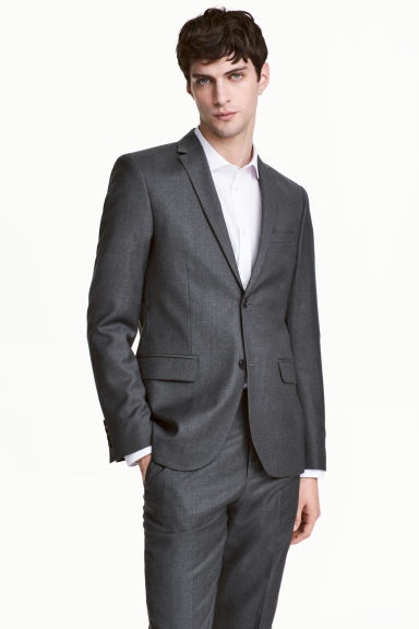 Wollen blazer - Regular fit - Donkergrijs - HEREN | H&M BE 1