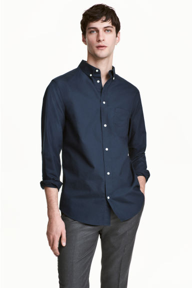 Premium cotton Oxford shirt - Dark blue - Men | H&M CN 1